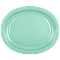 Creative Converting 318885 12 inch x 10 inch Fresh Mint Green Oval Paper Platter - 8/Pack