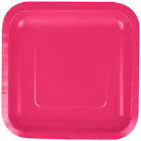 Creative Converting 453277 7 inch Hot Magenta Pink Square Paper Plate - 18/Pack