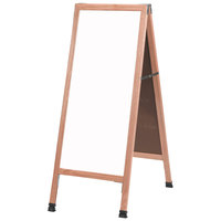 Aarco 42 inch x 18 inch Solid Oak Wood Narrow A-Frame Sidewalk Board with White Porcelain Marker Board