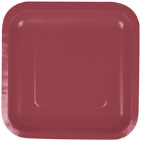 Creative Converting 453122 7 inch Burgundy Square Paper Plate - 18/Pack