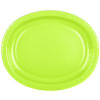 Creative Converting 433123 12 inch x 10 inch Fresh Lime Green Oval Paper Platter - 8/Pack