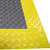 Cactus Mat 1053M-E23 Cushion Diamond-Dekplate 2' x 3' Gray Anti-Fatigue Mat with Yellow Safety Edge - 9/16 inch Thick