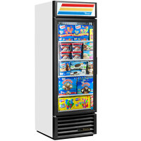 True GDM-23F-HC-LD WH LH White One Section Glass Door Merchandiser Freezer with LED Lighting and Left-Hinged Door