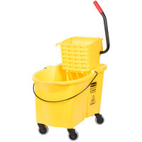 Rubbermaid FG618688YEL WaveBrake® 44 Qt. Yellow Mop Bucket with Side Press Wringer
