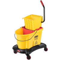Rubbermaid FG768000YEL WaveBrake® 35 Qt. Yellow Dual Water Mop Bucket with Side Press Wringer and Dolly