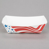 #200 2 lb. USA Flag Paper Food Tray - 250 / Pack