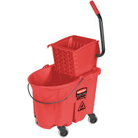 Rubbermaid FG758888RED WaveBrake® 35 Qt. Red Mop Bucket with Side Press Wringer