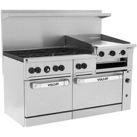 Vulcan 60SS-6B24GBN Endurance 6 Burner 60 inch Natural Gas Range with Griddle/Broiler and Standard Oven Base - 268,000 BTU