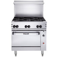 Vulcan 36C-6BP Endurance 6 Burner 36 inch Liquid Propane Range with Convection Oven Base - 215,000 BTU