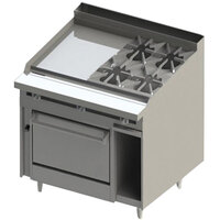 Blodgett BR-24GT-4-36 4 Burner 48 inch Thermostatic Natural Gas Range with Left Side 24 inch Griddle and Oven Base - 198,000 BTU