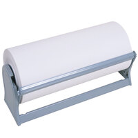 Bulman A527-15 Deluxe 15 inch Gray Steel All-In-One Paper Dispenser / Cutter with Serrated Blade