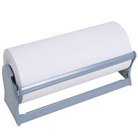 Bulman A527-12 Deluxe 12 inch Gray Steel All-In-One Paper Dispenser / Cutter with Serrated Blade