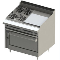 Blodgett BR-4-24GT-36 4 Burner 48 inch Thermostatic Liquid Propane Range with Right Side 24 inch Griddle and Standard Oven Base - 198,000 BTU