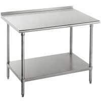 Advance Tabco SFG-306 30 inch x 72 inch 16 Gauge Stainless Steel Commercial Work Table with Undershelf and 1 1/2 inch Backsplash