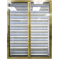 Styleline CL2472-NT Classic Plus 24 inch x 72 inch Walk-In Cooler Merchandiser Doors with Shelving - Anodized Bright Gold with Right Hinge - 2/Set