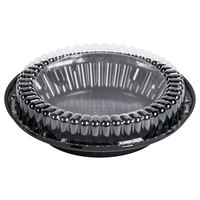 D&W Fine Pack J40-1 9 inch Black Pie Display Container with Clear Low Dome Lid - 20/Pack