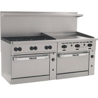 Vulcan 72CC-6B-36GT-P Endurance 6 Burner 72 inch Liquid Propane Thermostatic Range with 36 inch Griddle and 2 Convection Ovens - 310,000 BTU