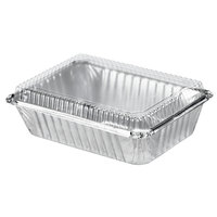Durable Packaging 250-30-P250 2 1/4 lb. Rectangular Foil Pan with Clear Dome Lid - 25 / Pack