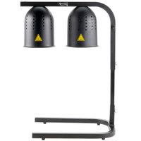 Avantco W62-BLK Black 2 Bulb Free Standing Heat Lamp / Food Warmer - 120V, 500W