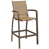 Grosfillex US463599 Sunset Cognac Resin Sling Bar Height Arm Chair with Fusion Bronze Seat - 4/Pack