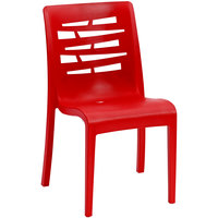 Grosfillex US218414 / US812414 Essenza Red Resin Indoor / Outdoor Stacking Side Chair