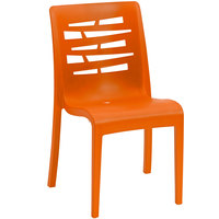 Grosfillex US218019 / US812019 Essenza Orange Resin Indoor / Outdoor Stacking Side Chair