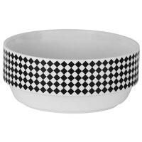 10 Strawberry Street FELIX-7 Felix 22 oz. White and Black Porcelain Soup Bowl with Checkered Rim - 16/Case