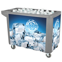 280 Qt. Gray Merchandiser / Cooler Push Cart - 53 inch x 30 inch x 39 inch