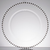 10 Strawberry Street BS-340 Belmont 13 inch Clear Glass Charger Plate with Silver Beading   - 4/Case