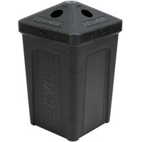 50 Gallon Black Stackable Recycling Bin with Pyramid Lid