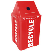 48 Gallon Red Stackable Recycling Bin with V-Shaped Lid