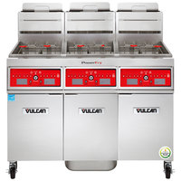 Vulcan 3VK45CF-1 PowerFry5 Natural Gas 135-150 lb. 3 Unit Floor Fryer System with Computer Controls and KleenScreen Filtration - 210,000 BTU