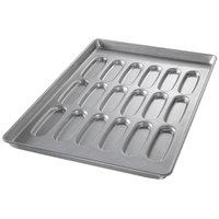 Chicago Metallic 52435 18 Mold Aluminized Steel Hot Dog Bun Pan - 17 11/16 inch x 25 11/16 inch