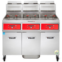 Vulcan 3VK45DF-1 PowerFry5 Natural Gas 135-150 lb. 3 Unit Floor Fryer System with Digital Controls and KleenScreen Filtration - 210,000 BTU