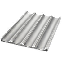 Chicago Metallic 49043 4 Loaf Aluminum Uni-Lock Baguette / French Bread Pan - 26 inch x 17 3/4 inch