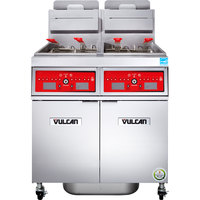 Vulcan 2VK85CF-1 PowerFry5 Natural Gas 170-180 lb. 2 Unit Floor Fryer System with Computer Controls and KleenScreen Filtration - 180,000 BTU