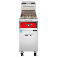 Vulcan 1TR85D-2 PowerFry3 Liquid Propane 85-90 lb. Floor Fryer with Solid State Digital Controls - 90,000 BTU