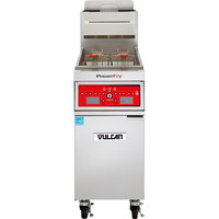 Vulcan 1TR85C-2 PowerFry3 Liquid Propane 85-90 lb. Floor Fryer with Computer Controls - 90,000 BTU