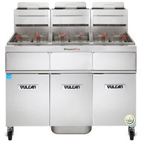 Vulcan 3TR65AF-1 PowerFry3 Natural Gas 195-210 lb. 3 Unit Floor Fryer System with Solid State Analog Controls and KleenScreen Filtration - 240,000 BTU