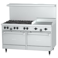 Garland SunFire Series X60-6G24RS Natural Gas 60 inch 6 Burner Range with 24 inch Griddle, 1 Standard Oven, and 1 Storage Base - 249,000 BTU