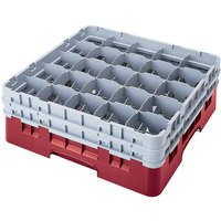 Cambro 25S418416 Camrack 4 1/2 inch High Cranberry 25 Compartment Glass Rack