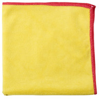 Unger MF40Y SmartColor MicroWipe 16 inch x 15 inch Yellow and Red Heavy-Duty Microfiber Cleaning Cloth