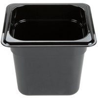 Carlisle 3088503 StorPlus 1/6 Size Black High Heat Food Pan - 6 inch Deep