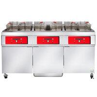 Vulcan 3ER50DF-1 150 lb. 3 Unit Electric Floor Fryer System with Digital Controls and KleenScreen Filtration - 208V, 3 Phase, 51 kW