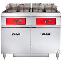 Vulcan 2ER50DF-2 100 lb. 2 Unit Electric Floor Fryer System with Digital Controls and KleenScreen Filtration - 480V, 3 Phase, 34 kW