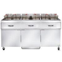 Vulcan 3ER50AF-1 150 lb. 3 Unit Electric Floor Fryer System with Analog Controls and KleenScreen Filtration - 208V, 3 Phase, 51 kW