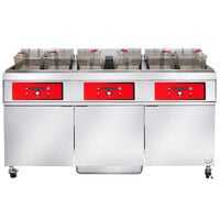 Vulcan 3ER85DF-2 255 lb. 3 Unit Electric Floor Fryer System with Digital Controls and KleenScreen Filtration - 480V, 3 Phase, 72 kW