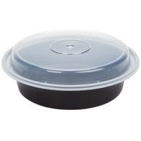 Newspring NC-723-B 24 oz. Black 7 inch VERSAtainer Round Microwavable Container with Lid - 150/Case