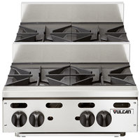 Vulcan VHP424U Liquid Propane 24 inch 4 Burner Step Up Countertop Range - 110,000 BTU