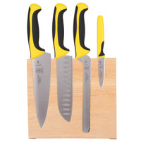 Mercer M21980YL Millennia 5-Piece Rubberwood Magnetic Board and Yellow Handle Knife Set